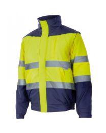 Casaco Acolchoado Bicolor de Alta Visibilidade Amarelo/Azul Marinho Tamanho S
