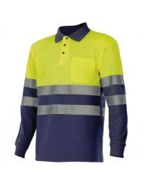 Polo bicolor de manga comprida de alta visibilidade